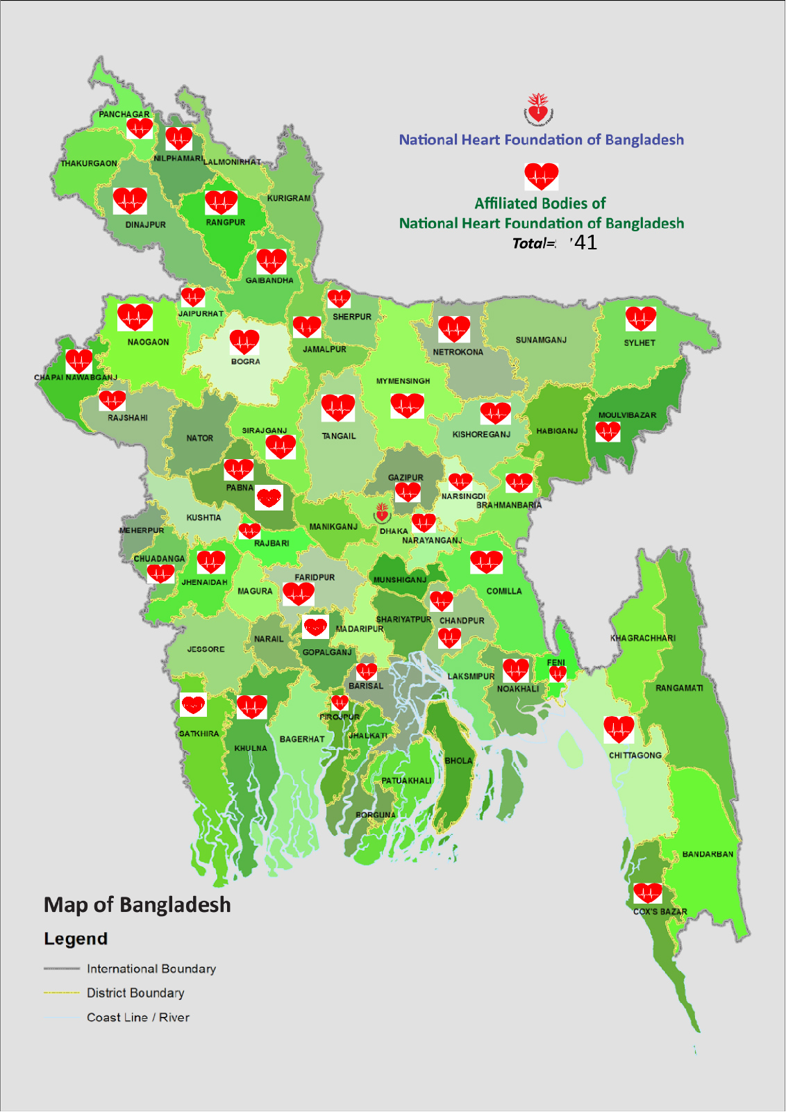 Affiliated Bodies District Map in Bangladesh